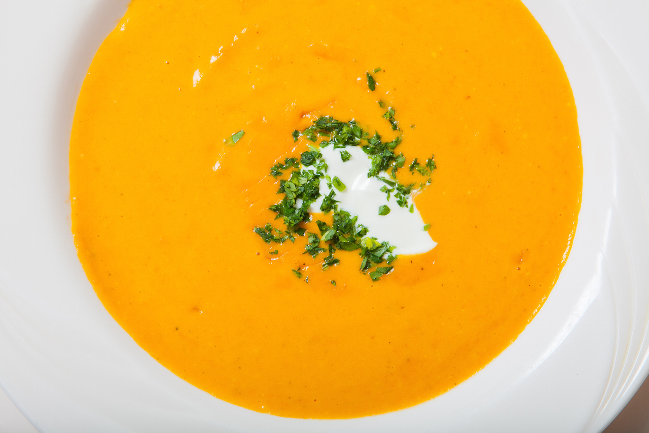 close up of pumpkin soup