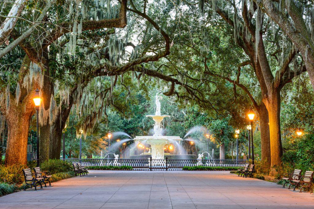 Savannah, Georgia, USA at Forsyth Park Fountain