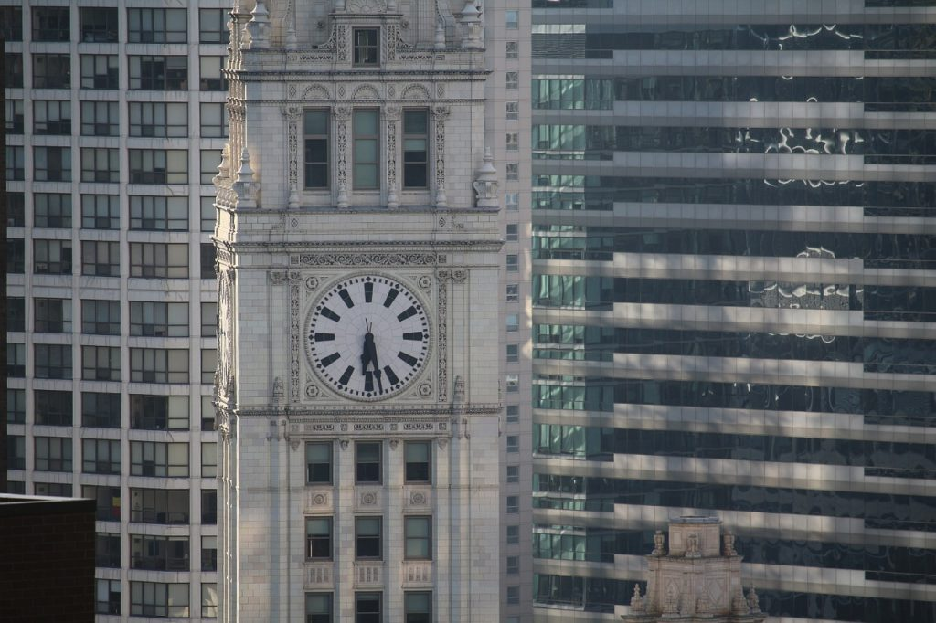 The famous clock on the south tower of the the Wrigley Building in Chicago