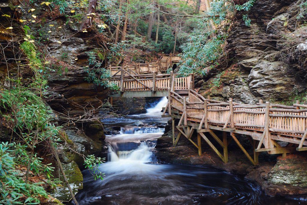 Picture of bridge and waterfall at Bushkill Falls, Pennsylvania.
