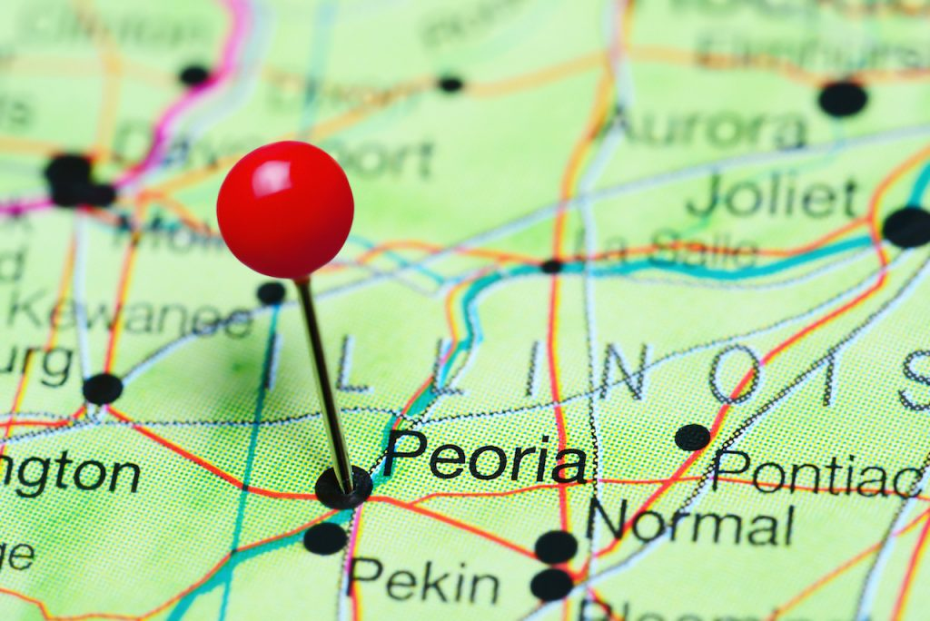 Peoria pinned on a map of Illinois, USA