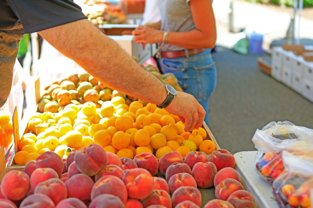 Fresh organic fruits at the local farmers' market. Close up of a man choosing ripe orange apricots at the Farmer's market.