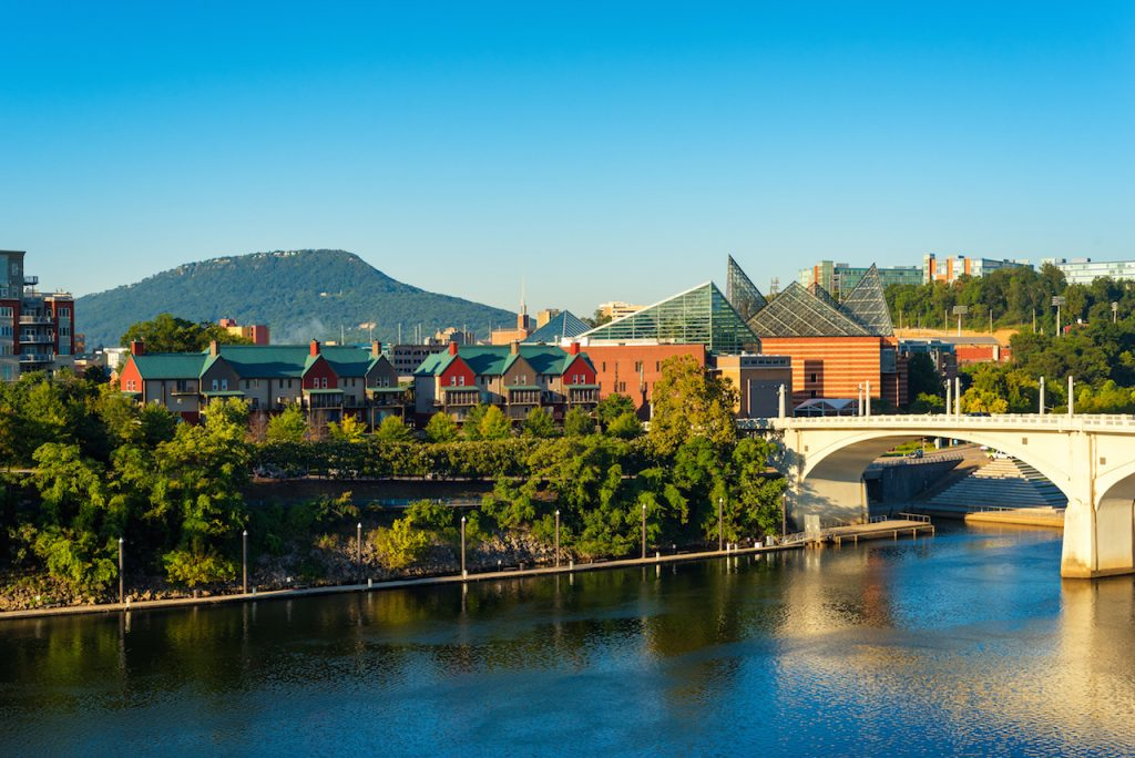 Downtown Chattanooga Tennessee with Lookout Mountain rising in the distance