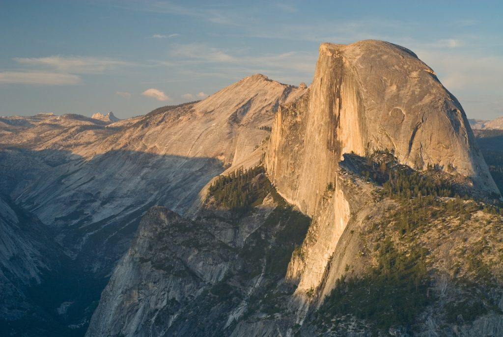 Half Dome bathed in golden light in Yosemite National Park, California