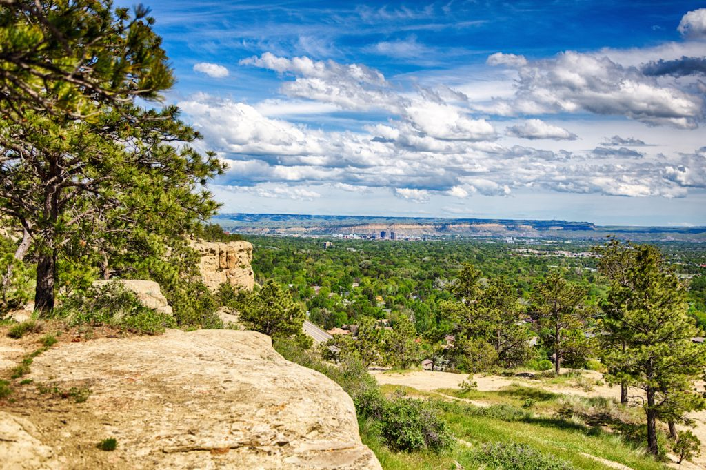 The view from the top of the sandstone bluffs surrounding Billings Montana.