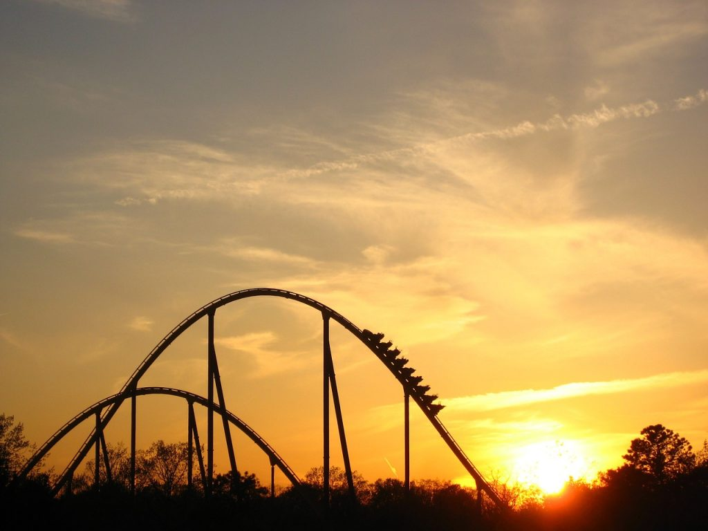 sunset view of a rollercoaster ride
