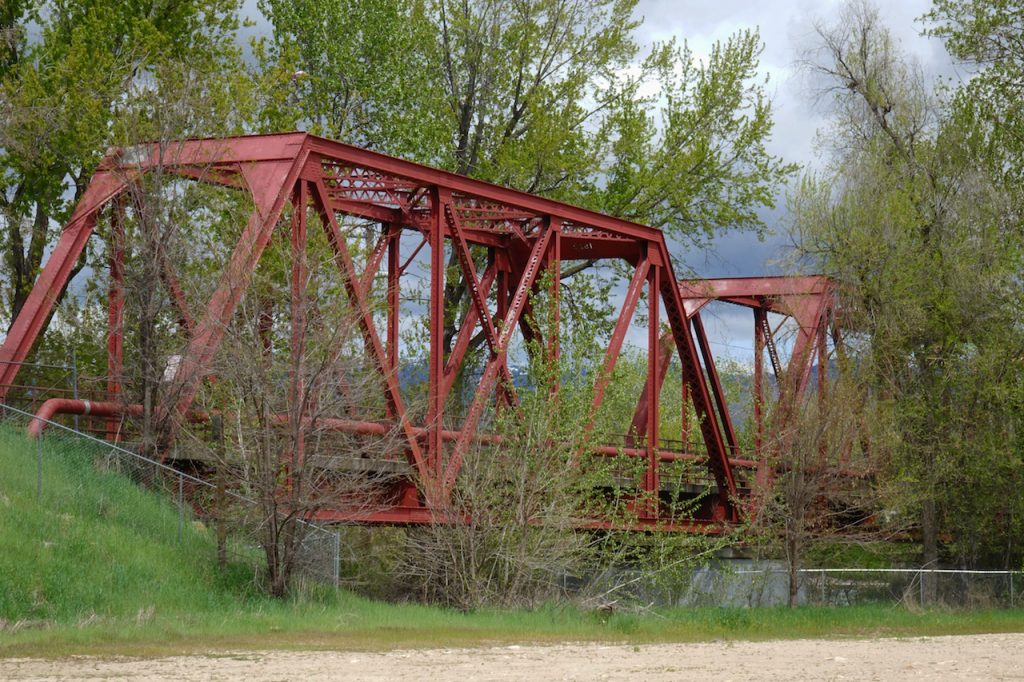 An old railroad Trestle Bridge in Boise, Idaho has become part of the Greenbelt path along the river.
