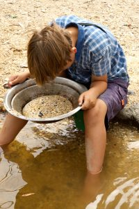 a young boy looks into the pan looking for gold