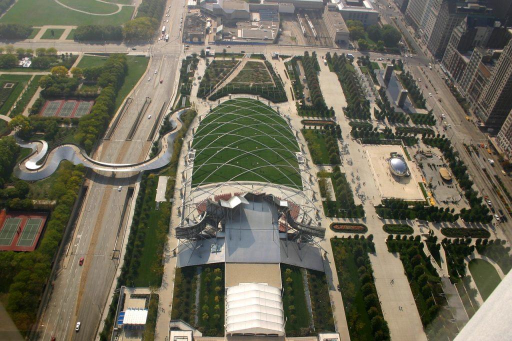 aerial view of Millennium Park