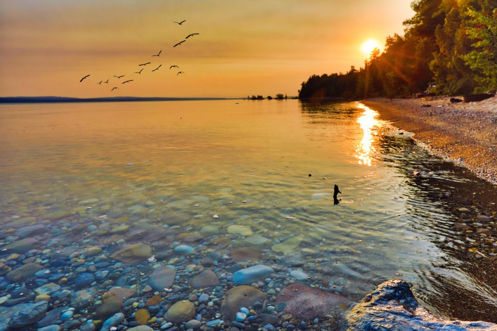 View of Lake Michigan during sunrise and sunset, between Petoskey and Charlevoix Michigan.