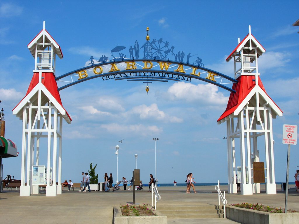The famous public BOARDWALK sign located at the main entrance of the boardwalk in Ocean City Maryland.