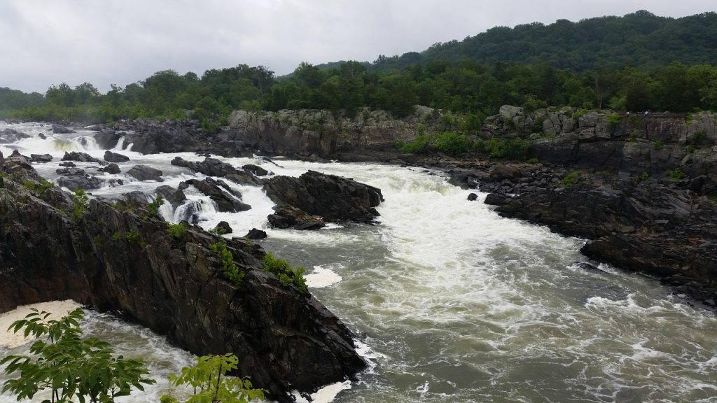 Views of rocks and water on the Potomac River in Great Falls Park Virginia