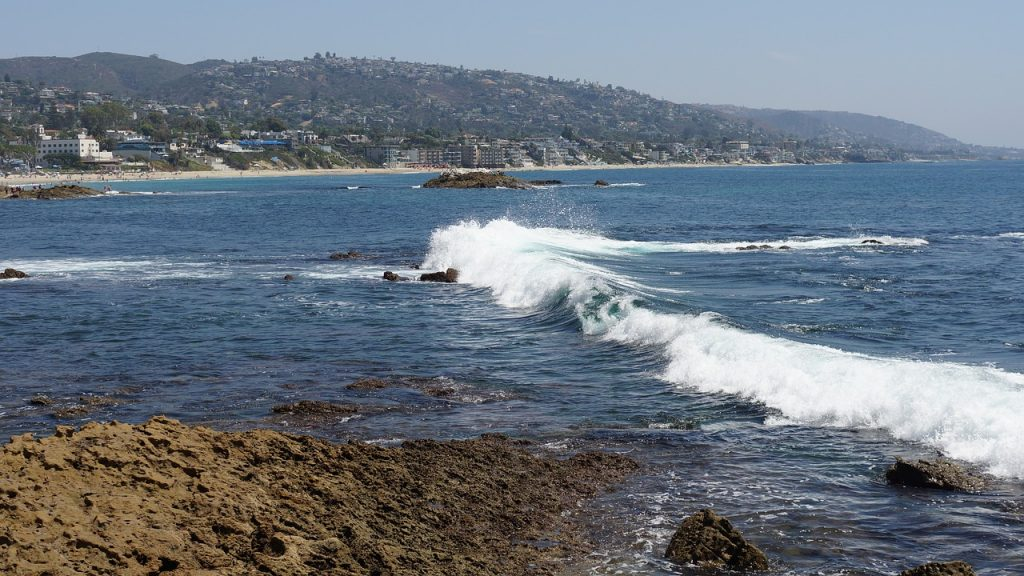 Waves crashing on Dana point in California